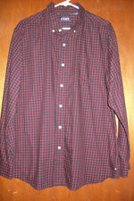 Chaps XL/TG Black/Red Plaid Long Sleeve Button Down Shirt Casual Cotton Blend