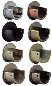 Metal 19mm Curtain Pole Recess Wall Bracket Black Chrome Brass Satin Chrome