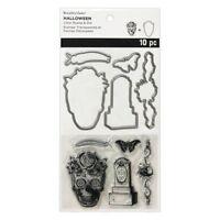 Skeleton Skull & Tombstone Halloween Clear Stamp and Die Set 556051 NEW!