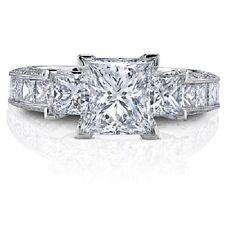 Exceptional 2.20 Ct EGL Certified Princess Cut Diamond Engagement Ring 14k F VVS