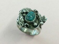 VINTAGE NATIVE AMERICAN INDIAN STERLING SILVER & TURQUOISE RING 1950