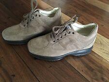 HOGAN men shoes Interactive beige suede sneaker with embossed H logo