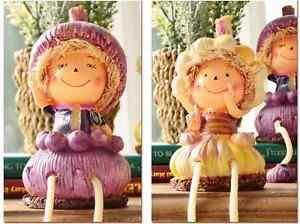 2pcs Home Kitchen Decorative Vegetable Garlic Figurine Statue Shelf Sitter Doll