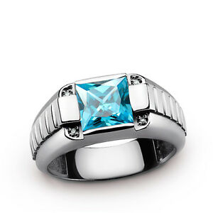 Blue Topaz Ring for Men 925 Silver 4 Earth Mined Real Diamond Accents All Sizes