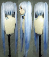 Vocaloid Snow Miku Hatsune Cosplay Wig+Clip Ponytail Fashion New Cos Wig Hair