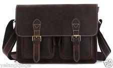Vintage Men Briefcase Portfolio Leather Office Document Shoulder Messenger Bag
