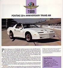 1989 Firebird Trans Am 20th Anniversary Indy Pace Car Article - Must See !!