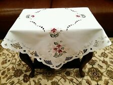 """Elegant Linen Embroidered Burgundy Rose 45x45"""" Square Embroidery Tablecloth"""