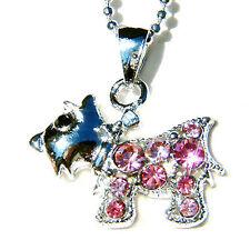 w Swarovski Crystal Pink Scottie WESTIE SCOTTISH DOG Cute Puppy Pendant Necklace