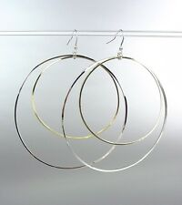 Large Silver Gold Metal Rings Dangle Earrings Diva Chic Sex and the City Style
