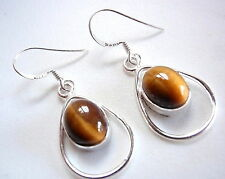 Tiger Eye Oval Dangle Earrings Cabochon in Hoop Drop 925 Sterling Silver New