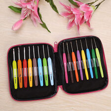 16pcs Multi Colour Crochet Hooks Yarn Knitting Needles Set Kit with Case Tool GB