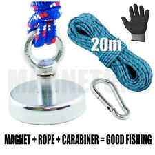 Magnet  METAL DETECTOR Recovery TREASURE FINDER_FERRITE_Fishing 60kg + ROPE 20m