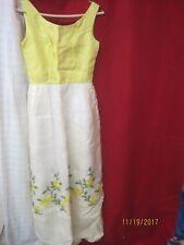 Vintage 1960's linen polyester Woman's Evening Dress yellow & cream overlay