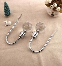 2 x CH13 60mm Silver Elegant Glass Crystal Curtain Hold Back, Hook Wall Tie Back