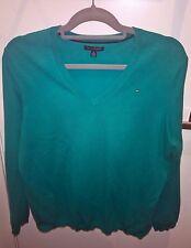 Tommy Hilfiger Women's Green Ivy Sweater Knit V-Neck Jumper Size XL BNWOT