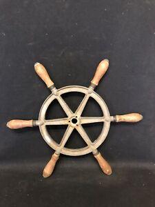 "17 1/2"" perko wood & metal ships wheel"