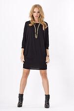 Womens Mini Dress Batwing Boat Neck Long Sleeve Tunic Shift Dress Size 8-18 8997