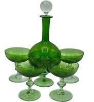 Vintage Bohemian Decanter Bottle Wine Goblets  Set of 5 Emerald (Made In France)