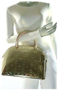 Michael Kors Emmy Large Dome Leather Satchel Shoulder Handbag in Pale Gold