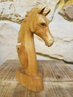 Horse Head Wood Carving/Hand Crafted/Rustic/Suar Wood 20cm