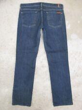 7 For All Mankind Womens Straight Leg Jeans Low Waist Dark Blue Sz 30