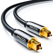 Toslink HQ deleyCON 10m - Optisches Audiokabel mit Metallstecker 5mm - Schwarz