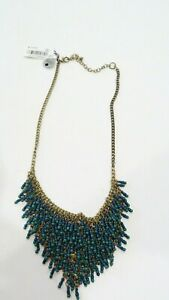 Macy's green blue bead statement necklace NWT Style&Co reversible bib necklace