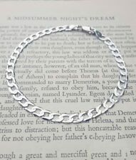 Ladies Small Fine 9ct White Gold Diamond Cut Curb Bracelet 7.5""
