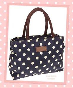 Super Chic Polka Dot Waterproof tote Handbag Two Compartments Navy & Cream