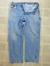 Worn-In DICKIES Denim Utility PANT Men 34x34 Relaxed Blue Jean Cell Phone Pocket