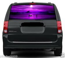Horses on Purple Beach Sunset Car Rear Window Vehicle Graphic Sticker / Decal