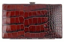 F. Hammann Travel Manicure Case 5 Piece Set Crocodile Embossed Leather Brown