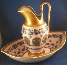 Antique Vieux Paris Porcelain Wash Basin & Ewer Set Porcelaine Pitcher & Bowl