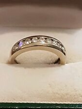 Beautiful channel set real diamond eternity/engagement/wedding ring(14k)size L