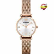 NEW EMPORIO ARMANI AR1956 RETRO ROSE GOLD MESH LADIES WATCH UK PERFECT GIFT