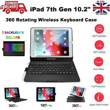 360° Rotating 7 Colors Backlit Wireless Keyboard Case for iPad 7th Gen 2019 10.2