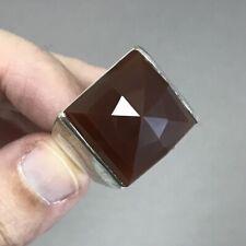BIG BOLD Men's Vintage Sterling Silver Carnelian Ring Size 13