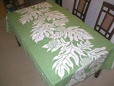 Breadfruit Hawaiian Quilt Print Water Resist Hawaii Tablecloth 60x60 Sage