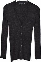 Vince Womens Knit Cardigan Top Size Medium Button Front V Neck Long Sleeve Gray