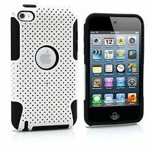 For iPod Touch 4th Generation - HARD & SOFT SILICONE CASE COVER WHITE BLACK MESH