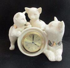 Lenox China Jeweled Collection Cat & 2 Kittens Quartz Desk Clock Japan Movt 1995