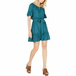 NWT Size M Michael Kors Green Atlantic Keyhole Peasant Belted Dress NEW  i12