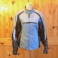 Women's TEKNIC Motorcycle Jacket with Pads & Powerskin Blue / Black Size 12 EUC
