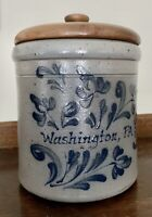 """Rockdale Union Stoneware Handmade Canister Crock with Lid 6"""" Tall 5"""" Wide"""