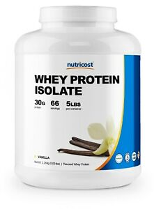 Nutricost Whey Protein Isolate (Vanilla) 5LBS - Premium Isolate Protein Powder