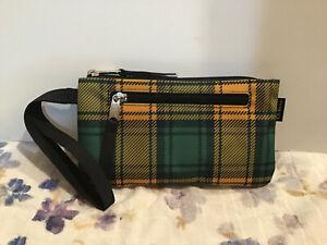 L.L. Bean Everyday Lightweight Clutch Wristlet - Green & Yellow Plaid #302382