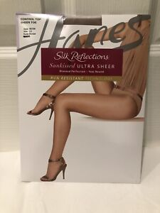 NEW HANES Silk Reflections Sunkissed Ultra Sheer Pantyhose - Bronze - Size CD