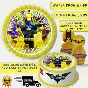 LEGO BATMAN THEMED PERSONALISED EDIBLE BIRTHDAY CAKE CUPCAKE TOPPERS