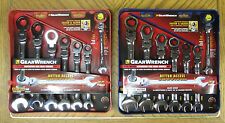 GearWrench 14 Pc SAE/Metric Ratcheting Combination Flex Head Wrench Set! 7 1/2